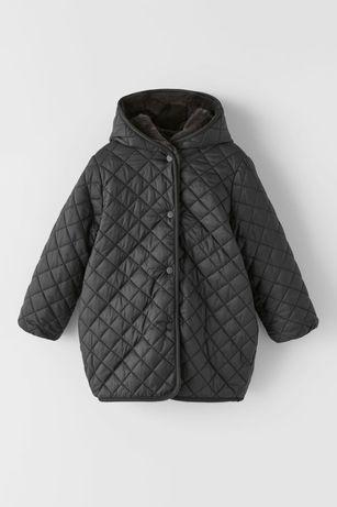 Zara płaszcz kurtka zimowa futerko dwustronna 134cm. Czarna