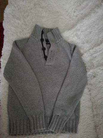 sweter TOMMY HILFIGER M szary, półgolf TOMMY HILFIGER M 38 wełniany