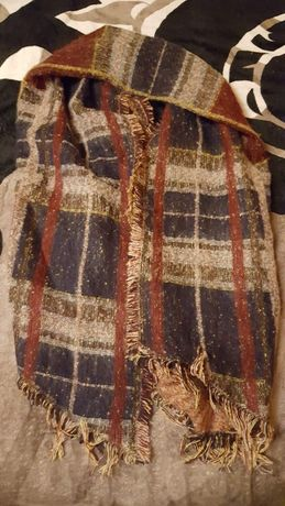 Gruba chusta/ gruby szal w kratę brąz beż czerwień