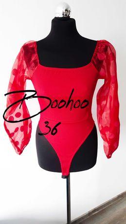 Boohoo Czerwone body 36 bufiaste rękawy