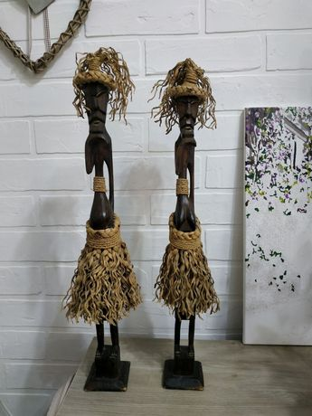 статуэтки деревянные пара папуасов 55cм. (мальчик и девочка) 350грн. з