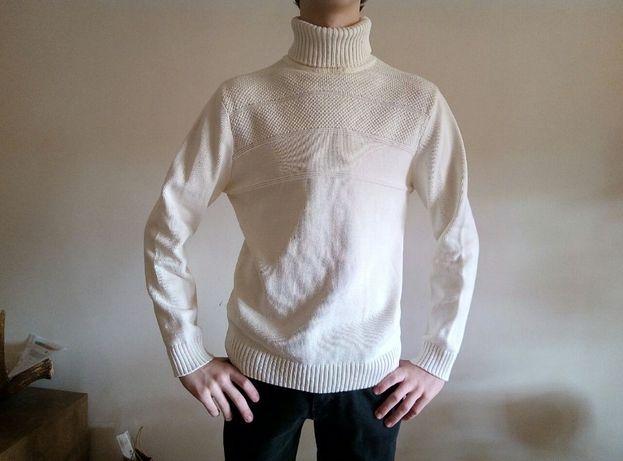 Мужской молочно белый свитер O'stin размер М / 46