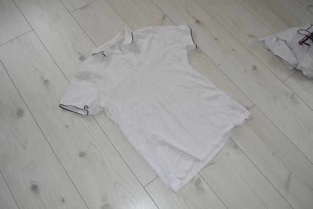 Białe męskie polo koszulka L krótki rękaw Fishbone New Yorker