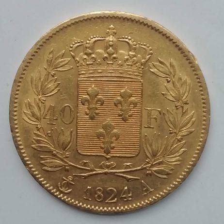 Moeda ouro 40 Francos 1824 Soberba