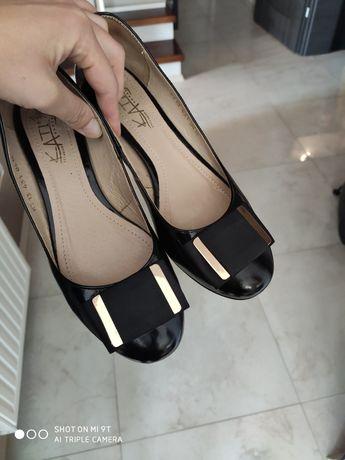 Eleganckie skórzane czarne baleriny balerinki Kati 37