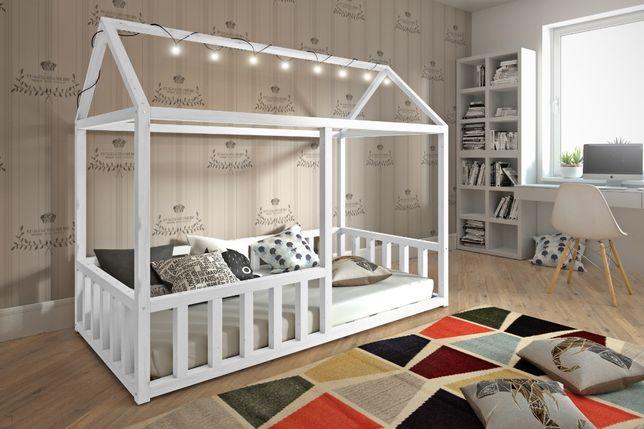 Drewniane łóżko Niko-domek z materacem! Okazja! Super kolory
