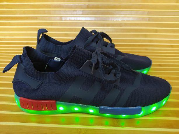 Мужские подростковые летние светящиеся кроссовки Led подсветкой р40-42