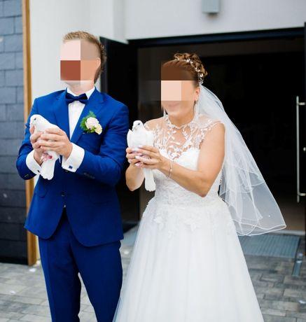 suknia ślubna + welon + ozdoba do włosów