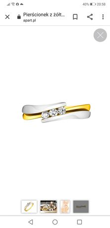 Pierścionek żółte złoto z brylantami APART r. 10 -50%