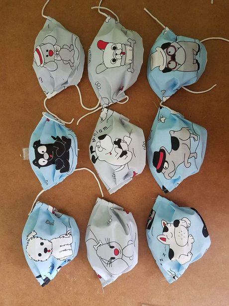 Maseczki maski bawelniane wzory psy koty sowy flamingi DUZO WZOROW