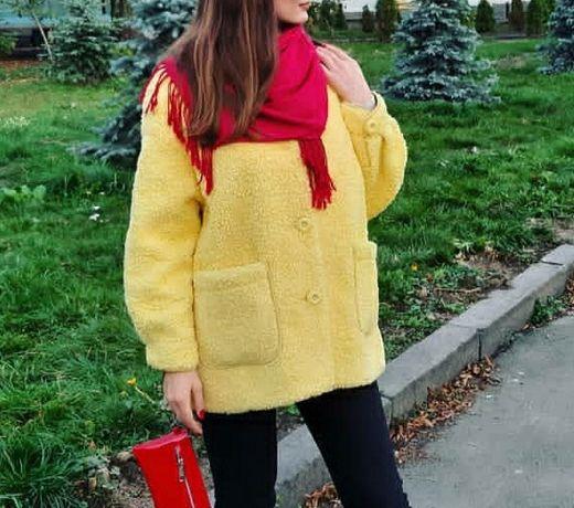 Жёлтая весенняя дубленка, пиджак