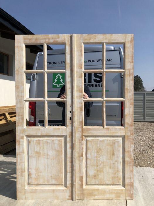 Drzwi dwuskrzydłowe drewniane postarzane SZCZOTKOWANE od ręki