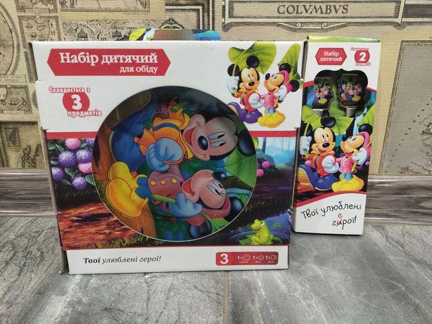 Набор детской стеклянной посуды, ложка и вилка Микки Маус,Mickey Mouse