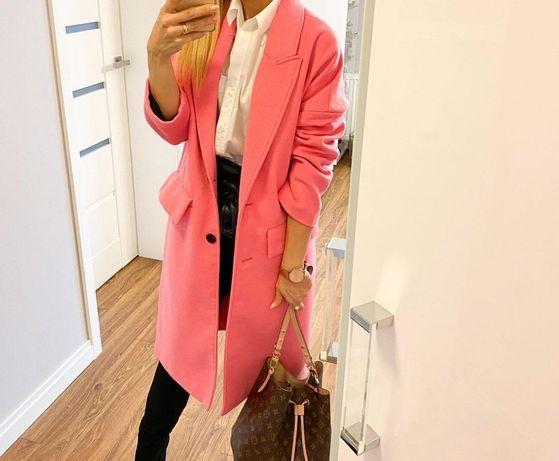 Płaszcz zara różowy oversize pink xs 34 kurtka