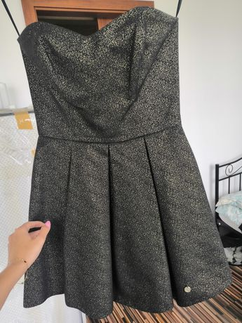 Blyszczaca rozkloszowana sukienka gorset czarny złoty