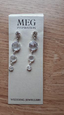 Kolczyki ślubne okazyjne srebrne