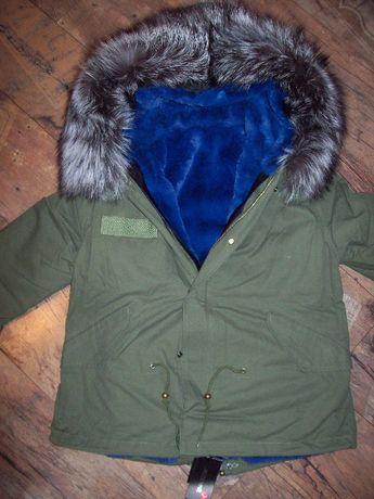 Kurtka parka zielona futro szare niebieskie 40 L
