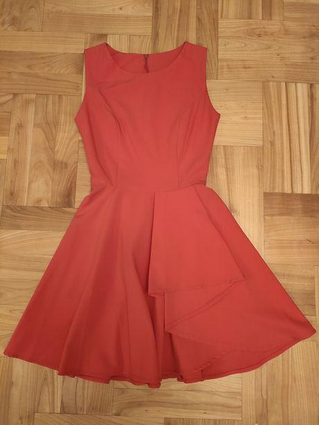 Czerwona sukienka rozkloszowana rozmiar 34 XS wesele, impreza