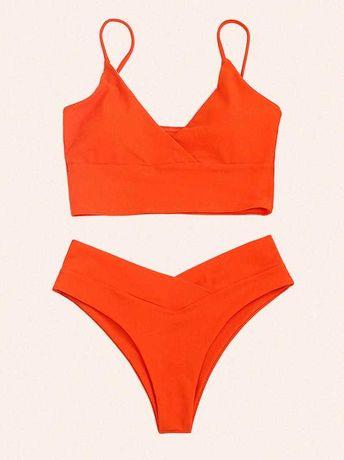 Оранжевый купальник раздельный S (44 р.) Красивый купальник летний