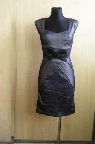 Wizytowa czarno popielata sukienka r. S/M