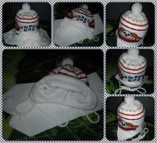 Детский комплект шапка+шарф на малыша (ку), на флисе