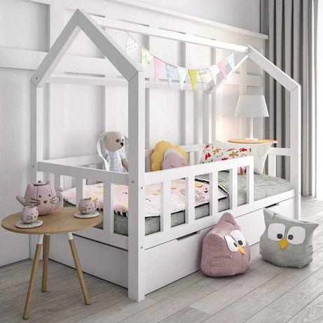 Łóżko Domek z barierkami + szuflada na materac , 90x200