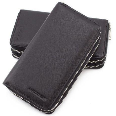 Большой Кожаный мужской кошелёк клатч портмоне барсетка Marco Coverna
