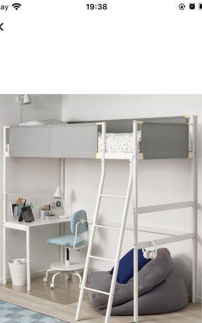 IKEA VITVAL łóżko na antresoli z biurkiem białym