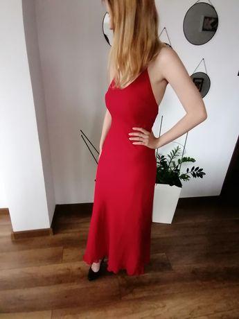 Piękna długa czerwona suknia r.36