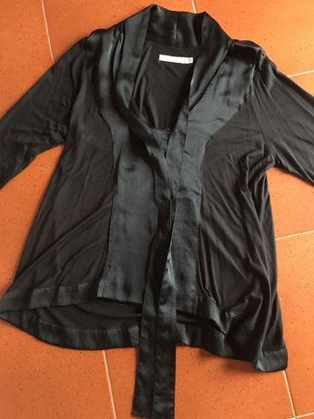 Camisola preta c/seda Sacoor