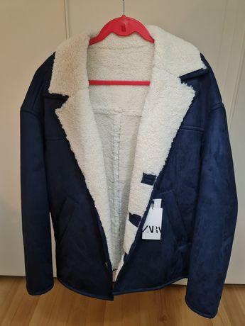 Casaco Zara Suede Handfeel XL azul escuro para homem