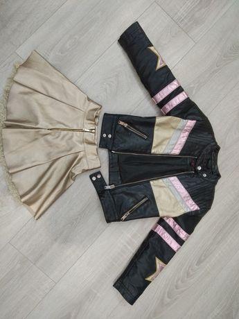 Кожанка косуха курточка 104 110 кожаная юбка