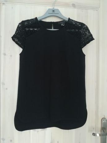 Czarna eleganc bluzka z koronkowymi rękawami Atmopshere Primark 34 xs