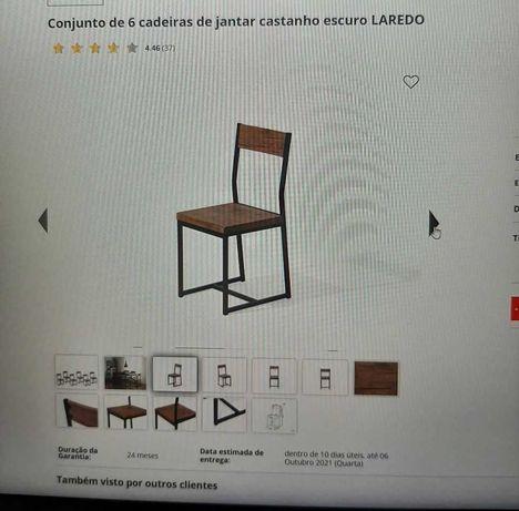 Conjunto de 6 cadeiras de jantar novas castanho tipo industrial