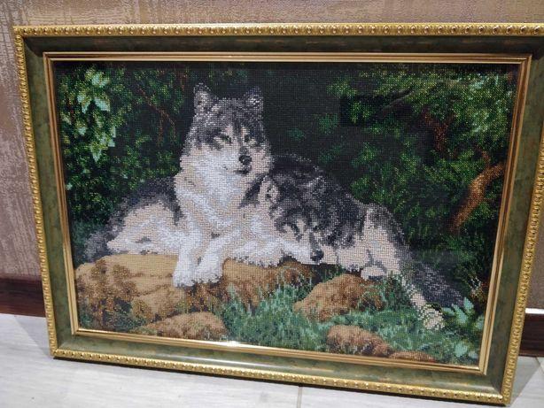 Картины бисером Волки Маки