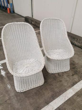 2 fotele rattanowe białe
