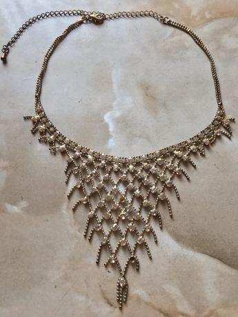 Naszyjnik kolia z cyrkoniami ażurowy miedziany biżuteria damska