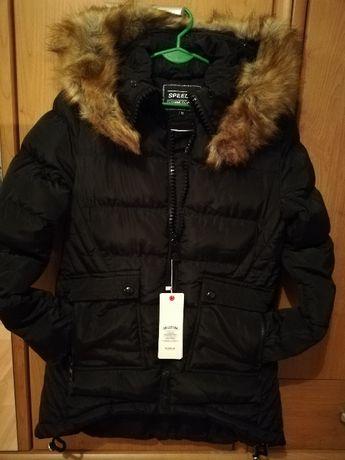 zimowa pikowana kurtka z kapturem czarna - M