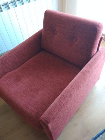 fotel PRL czerwony bordowy
