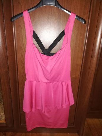 Różowa sukienka z baskinką roz. 36