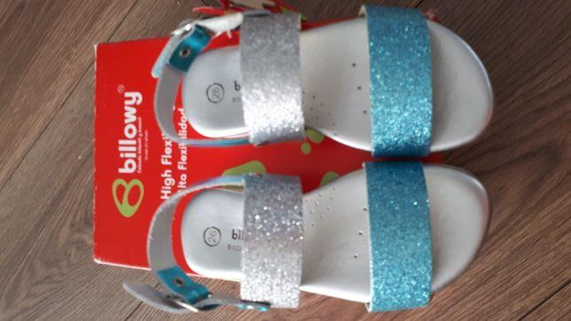 Piękne brokatowe i skórzane sandały BILLOWY r.26