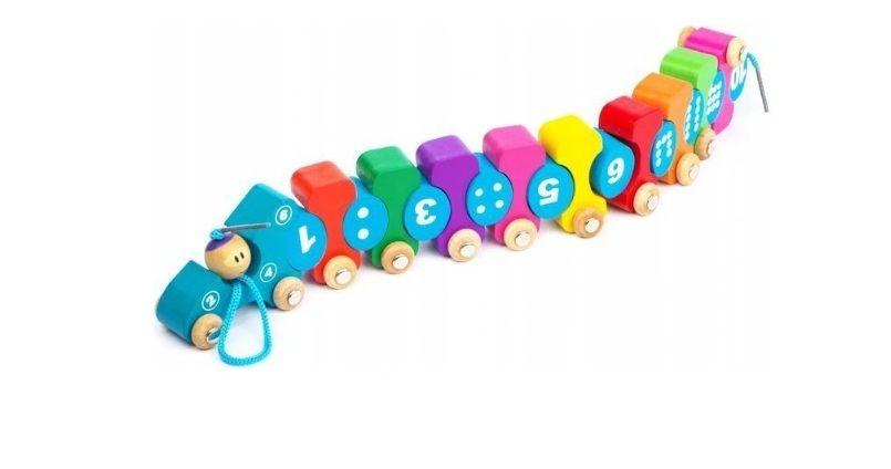 Pociąg Drewniany Cyferki Ruchome zabawka edukacyjna