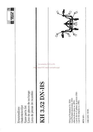 Katalog części przetrząsacz DEUTZ FAHR KH 3.52