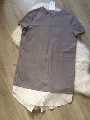Стильное лаконичное платье рубашка сарафан офисное легкое Oodji XS-S