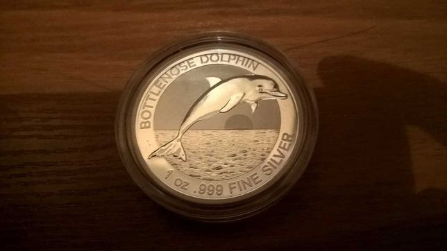 Серебряная монета 1 oz Бутылконосый Дельфин 1 доллар 2019 Австралия