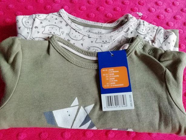 Nowe koszulki długi rękaw roz. 62/68 2 szt.