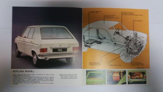 Brochura Peugeot Berlina 104 e 104GL