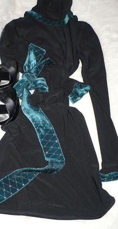 czarna sukienka szyta z golfówki elastycznej XS/S