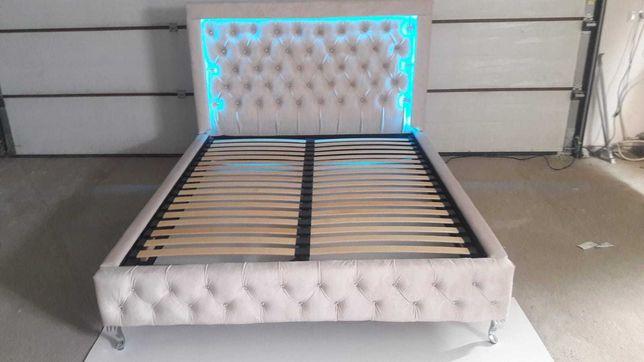 Łóżko sypialnia 160 led beż chesterfield kryształki pojemnik nowe