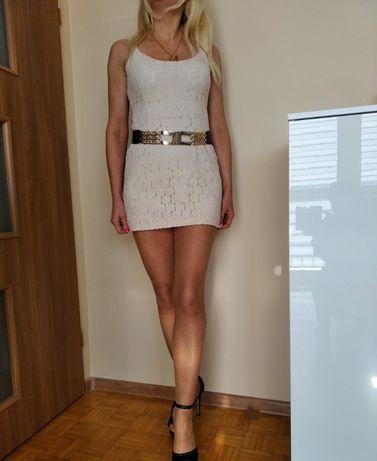 CUDOWNA sukienka mini koronka kremowa ramiączka S M GRATIS WYSYŁKA